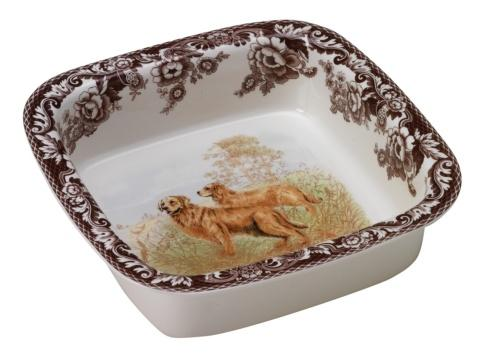 Spode Woodland Hunting Dogs Collection Golden Retriever Square Rim Dish $110.25